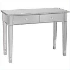 Montrose Mirrored 2-Drawer Console Table in Painted Silver Wood Trim