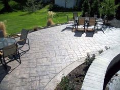 Pretty Stamped Concrete Cost trend Cleveland Traditional Patio Decorating ideas with ashler slate Fordson Concrete Patio Stamped Concrete Patio Stamped Concrete Designs, Concrete Patio Designs, Backyard Patio Designs, Patio Ideas, Pergola Ideas, Backyard Ideas, Pool Ideas, Stamped Concrete Patios, Outdoor Ideas