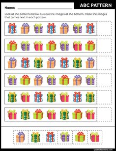 These FREE printable worksheets for kids are great for practicing spatial concepts! These patterns worksheets can be used as homework, bell-ringer activity, warm-up activity, or speech therapy work. Fun activity for your kindergarten or grade 1 students! Pre K Worksheets, Free Printable Worksheets, Pattern Worksheet, Math Patterns, Busy Book, Kids Education, Preschool Activities, Work Fun, Numeracy