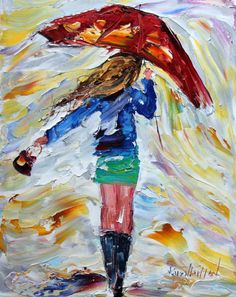 "Karen's Fine Art – Gallery Represented Modern Impressionism in oils    Title: Red Umbrella  Original oil painting by Karen Tarlton  Size: 8""x 10"""