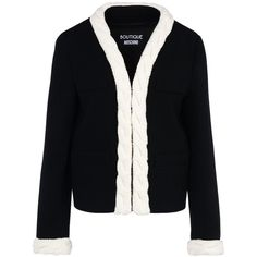 Boutique Moschino Blazer (2.440 BRL) ❤ liked on Polyvore featuring outerwear, jackets, blazers, black, blazer jacket, long sleeve blazer and long sleeve jacket