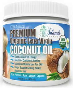 Premium Organic Coconut Oil 16oz - Cold Pressed Raw Extra Virgin With Very Light Coconut Aroma & Flavor Is Great For Cooking, Skin Moisturizer, Anti-Wrinkle Cream, & 100% Natural Hair Conditioner