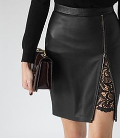 Mckayla Black Lace-insert Leather Skirt - REISS