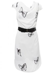 Viktor & Rolf White Detachable Bow Belt Drape Dress