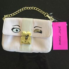 Betsey Johnson mini bag Cute new Betsey Johnson baguette, fierce and fabulous in blush.  Gold hardware and chain handle.  Small heart mirror inside.  Beautiful fun evening bag!  New with tag attached. Betsey Johnson Bags Mini Bags
