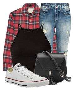 """#FlannelAroundWaist"" by kirajones181 on Polyvore featuring R13, Yoki and Converse"