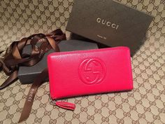 Gucci 308004 Soho Leather Zip Around Wallet Red ] : Real Bag Sale Gucci Bags Outlet, Designer Bags For Less, Gucci Wallet, Purse Styles, Gucci Handbags, Bag Sale, Hobo Bag, Zip Around Wallet, Leather