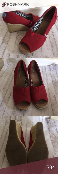 TOMS Red Wedges 9.5 TOMS Red Wedges Size 9.5. Used but in great condition! TOMS Shoes