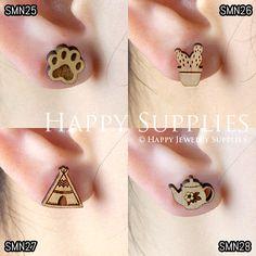 4pcs Mini SMN25-28 DIY Laser Cut Wooden Earring Charms SWC