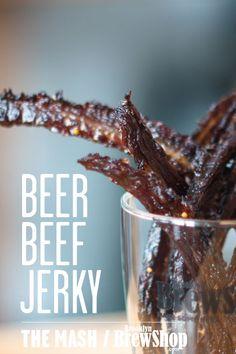 Recipe: Beer Beef Jerky Beer Beef Jerky Recipe Super Bowl Recipes Snacks Belgian Ale Bruxelles Black Cooking with Beer Deer Jerky Recipe, Venison Jerky Recipe, Smoked Beef Jerky, Homemade Beef Jerky, Venison Recipes, Beer Recipes, Cooking Recipes, Coffee Recipes, Beef Jerky Marinade