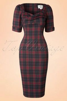 Collectif Clothing - 50s Rizzo Hanna Tartan Pencil Dress in Navy and Red