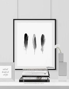 Nice Feathers poster, Minimalist poster, feathers printable, Scandinavian art, Black & White, Home decor, Digital print wall art INSTANT DOWNLOAD  The post  Feathers poster, Minimalist poste ..