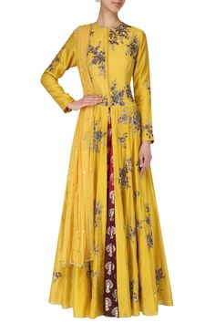 Joy Mitra presents Yellow Embroidered Anarkali Set available only at Pernia's Pop Up Shop. Western Outfits For Women, Clothes For Women, Fashion Over 50, Fashion Fall, Dresses Australia, Pernia Pop Up Shop, Anarkali, Lehenga, Indian Designer Wear