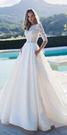 LORIE Princess Wedding Dress Half Sleeves Elegant Appliqued A-Line Bride Dresses With Pockets Boho Wedding Gown 2020 A Line Bridal Gowns, Bridal Dresses, Bridesmaid Dresses, Boho Wedding Gown, Backless Wedding, Wedding Dresses Under 100, White Wedding Dresses, Gowns Of Elegance, Elegant Gowns