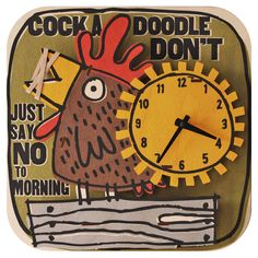 Rooster Clock. Fun natural birch wood clock with a cool 3D pop out effect - hangs on wall or sits on shelf.