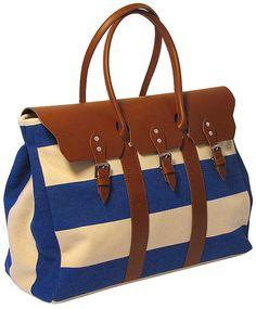 0220e3dec67 Lugano Sport Blue Striped Duffle Floto by LoveLeatherTravelBag,  359.00  Purses And Bags, Lugano,
