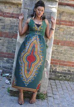 Dashiki African print tie back Maxi dress