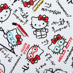 white plaid Hello Kitty math teacher fabric by Kokka 1