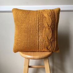 Cable Knit Deep Yellow Pillow Cover, Backed with Plaid Pendleton Wool - 16x16