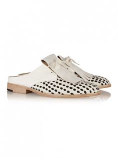 Esquivel Leather and Jacquard Mules