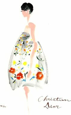christian Dior fashion illustration... Acrylic paint