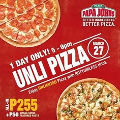 Papa John's Unli Pizza is back!  Enjoy all-you-can-eat pizza and bottomless iced tea on March 27, 2016 from 5 to 9PM at ALL Papa John's branch except Julia Vargas!  ALL-IN at P255! And add P50 for a single served featured pasta.  http://mypromo.com.ph/