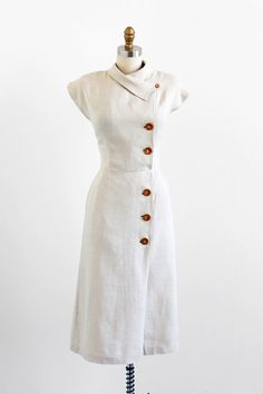 vintage 1940s dress / 40s dress / Natural Linen Wiggle Dress with Asymmetrical Collar