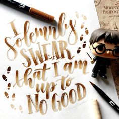 "Harry Potter ""I solemnly swear that I am up to no good"" Calligraphy Lettering by Harry Potter Drawings, Harry Potter Room, Harry Potter Quotes, Harry Potter Fan Art, All The Bright Places, Brush Lettering, Watercolor Lettering, Fantastic Beasts And Where, Mischief Managed"