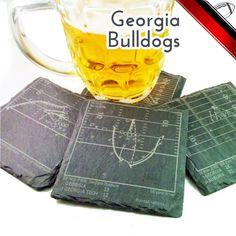 Georgia Bulldogs Slate Coasters by PointsAndPints on Etsy