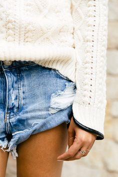 knits and denim shorts