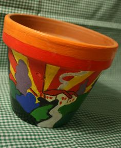 Clarice cliff flower pot painting