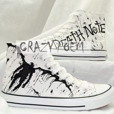 Anime Death Note Custom Hand Painted Hi-Top Canvas Shoes Unisex... (€54) ❤ liked on Polyvore featuring shoes, sneakers, anime, animal print shoes, high top sneakers, waist trainer, canvas shoes and hi top shoes