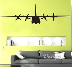 BIG C130 Military Army Airplane 75by22 inch----art Graphic Vinyl wall decals