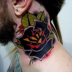 Neo Trad Flower Rose Tattoo At Neck For Men Tattoo