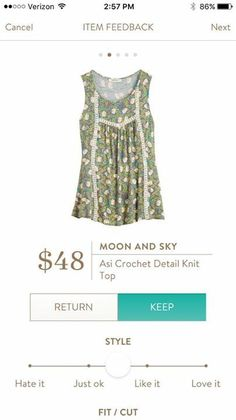 Stitch Fix Moon & Sky Asi Crochet Detail Knit Top