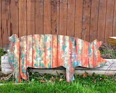 Each Rustic Pig Sign is unique and made to order. These beautiful pig art pieces are generally made of oak, cedar pine and reclaimed wood . Imperfections in the large pig cutouts just add to the character of these great farm art pieces. We hand select and arrange the pieces to achieve