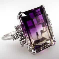 Natural Ametrine Quartz Diamond Cocktail Ring Solid Platinum Estate Jewelry
