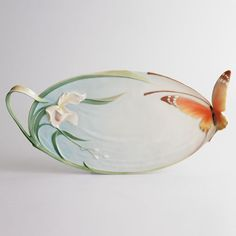 XP1694 Franz porcelain Papillon large tray Spectacular art