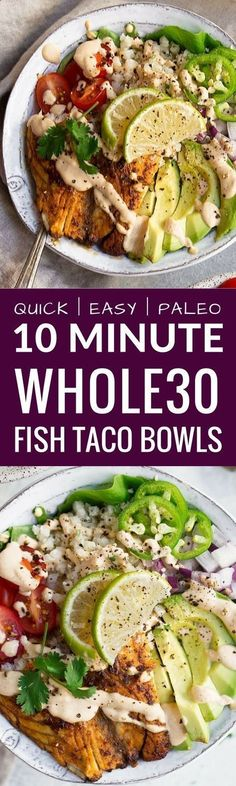 This recipe for Whole30 Fish Taco Bowls will leave you wanting more! Healthy whole30 fish taco bowl that is served on a bed of lettuce and cauliflower rice, topped off with a creamy chipotle sauce! Only 10 minutes to prepare! whole30 meal plan. Easy whole30 dinner recipes. Whole30 recipes. Whole30 lunch. Whole30 meal planning. Whole30 meal prep. Healthy paleo meals. Healthy Whole30 recipes. Easy Whole30 recipes. Easy whole30 dinner recipes. via The Movement Menu | Paleo Recipes #paleorecipes