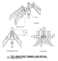 King Post and Timber Linx Detail - Timber Frame Construction Details