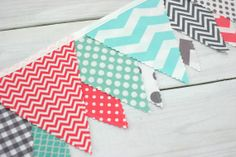 Bunting Fabric Banner, Fabric Flags, Girl Nursery Decor, Photography Prop - Coral Pink, Gray, Mint Green, Chevron, Dots - Ready to Ship