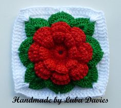 crochet roses | Rose in square by Luba Davies | Crocheting Pattern