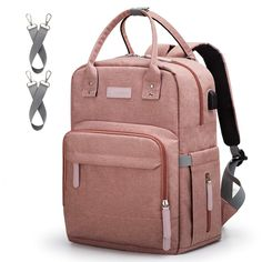Diaper Bag Backpack Upsimples Multi-Function Maternity Nappy Bags for Mom, Travel Back Pack Baby Bag with Laptop Pocket,USB Charging Port,Stroller Straps -Pink - - Baby Diaper Bags, Diaper Bag Backpack, Nappy Bags, Black Backpack, Travel Backpack, Gold Backpacks, Baby Changing Bags, Backpack Reviews, Fashion Handbags