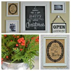 How to transfer chalk art & print on Burlap {Almost} Free Christmas Art for Our Gallery Wall - Simplicity in the South