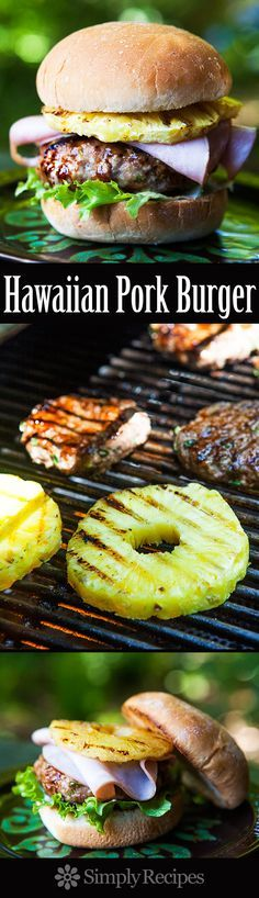 Hawaiian Pork Burger ~ A Hawaiian-inspired pork burger with ground ginger and green onion in the patty, topped with barbecue sauce, grilled pineapple and ham. ~ SimplyRecipes.com