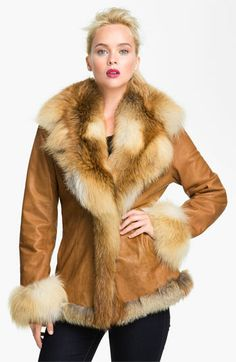 Chosen Furs Lambskin Leather Coat with Fox Fur Trim available at #Nordstrom