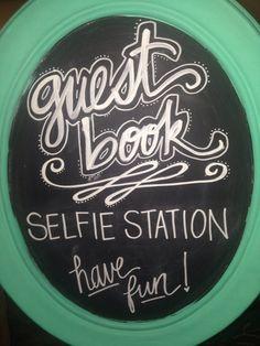 Guestbook chalkboard selfie station