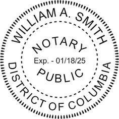 District of Columbia Washington DC Notary Seal