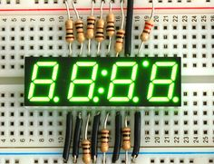 Green clock display - digit height(Common Anode) :Elecrow bazaar, Make your making Electronic modules projects easy. Open Source Hardware, Clock Display, Buzzer, Diy Electronics, Digital Alarm Clock, Arduino, Led, Make It Yourself