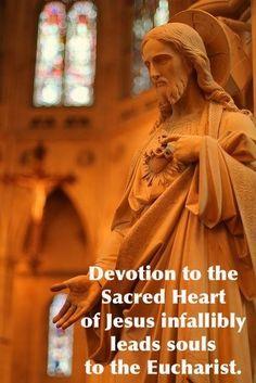La devoción al Sagrado Corazón de Jesús infaliblemente lleva a las almas a la Eucaristía.